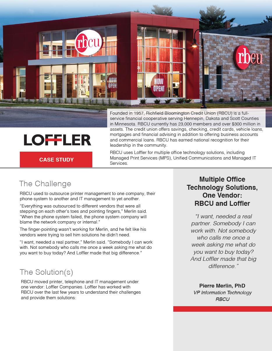 RBCU One Vendor Case Study Loffler Companies