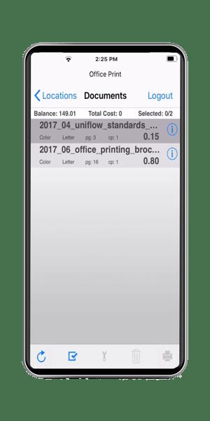 uniflow mobile app print job selection screen