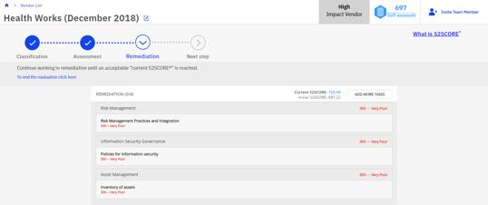 SecurityStudio Vendor Risk Management Loffler Companies Remediation Screen